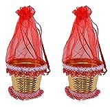 #8: AASA Net Decorative Basket Potli for Fruit Gifting, Anniversary Gift Packing Item, Chocolate Gifting, Sweet Gifting, Wedding Gifting, Set of 2Pcs, Red, 20Grams, Pack of 1