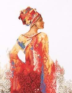 broderie ashanti woman sur toile aida 5.4 à broder au point de croix sur toile aida 5.4 collection lanarte