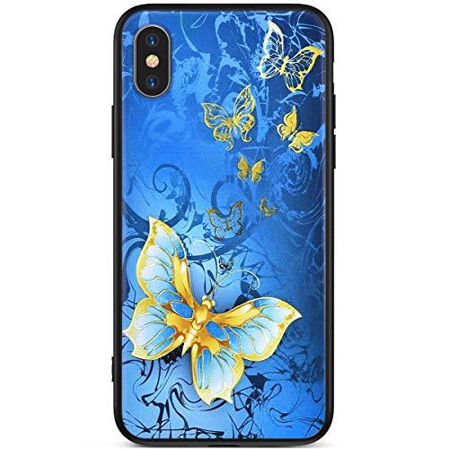 Ukayfe hülle Kompatibel mit iPhone XS Max Bunte Gemalt Muster Ultradünn HandyHülle Stoßfest Slim Anti-Scratch Anti-Fall Bumper Weiche Silikon TPU +PC Case hülle-Kingdee auf blauem Hintergrund