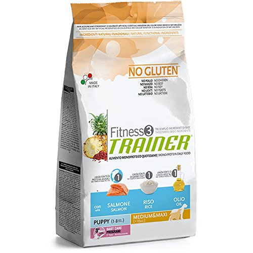Natural Trainer Trainer Fitness 3 No Gluten Puppy Medium&Maxi Salmone Mais Olio 3kg, Multicolore, Unica