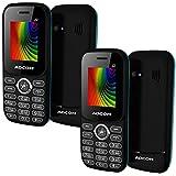 (Pack Of 2) - Adcom J2 - Big Battery Dual Sim Phone (1.8 Inch Display, 1500mah Battery, Black/Blue)