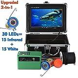 MICHEN 7,0 Pouces 15m 1000TVL sous Marin Fish Finder caméra de pêche 15pcs Blanc LEDs + 15pcs Lampe Infrarouge FishFinder IP68 imperméable à l'eau