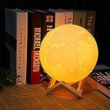 OUSENR Tischleuchte Wiederaufladbare 3D-Druck Erde Licht Dimmbar Schreibtisch Einrichtung Lampe Kontaktschalter Schlafzimmer Bücherregal Usb Creative Night Light, 10Cm Led
