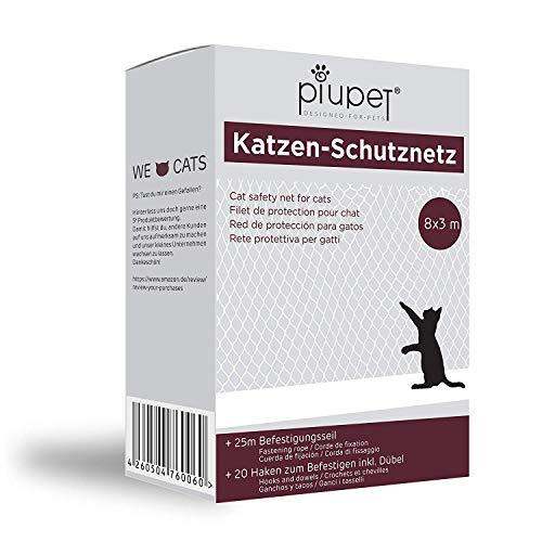 PiuPet® Premium Katzennetz | inkl. 25m Befestigungsseil | Extragroß in 8x3m | Hochwertiges Sicherheitsnetz für Balkon & Fenster