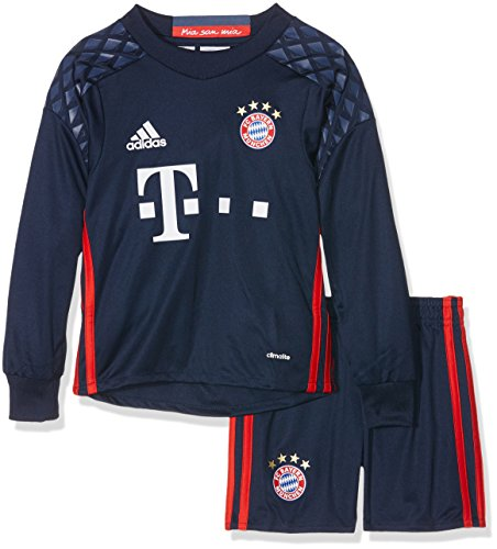 adidas Jungen Torwart-bekleidungsset FC Bayern München Ausrüstung Home Goalkeeper Mini Kit Set, Top:Night Night Marine Bottom:Night Indigo/Red, 92