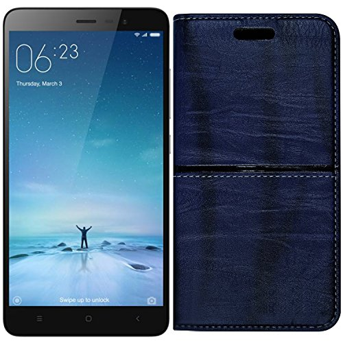 (Buy 1 Get 1 Tempered Glass Free) Roxel Redmi Note 3 Rich Boss Leather Flip Cover with [ Stand View & Card Holder Option ] Leather Flip Cover for Redmi Note 3 - Texture Blue