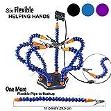 Flexibel Helfende Hände , Loeten Dritte Hand löthilfe , Lötstation Werkzeug (Flexible 7 Arme Helfende Hände, 360 Grad schwenkbare Clips, bürstenlosen DC-Ventilator) von LITEBEE --- Schwarz