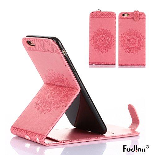 Cover iphone 6 /iphone 6s Hülle,Fodlon® Totem Geprägt Up-Down öffnen PU-Leder Flip Stand mit Schwarz Lanyard Hülle Abdeckung zum iphone 6 /iphone 6s-Purple Rosa