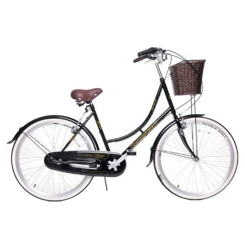 "518dgpuWaWL. SS500  - NEW EX-DISPLAY AMMACO HOLLAND CLASSIC TRADITIONAL DUTCH STYLE HERITAGE LIFESTYLE LADIES BIKE 3 SPEED STURMEY ARCHER GEARS WICKER STYLE BASKET 16"" FRAME BLACK"