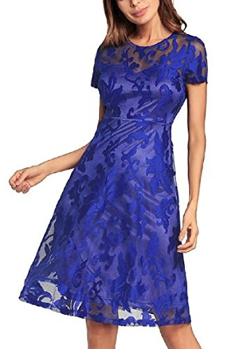CuteRose Womens Sexy Lace Stiching Mesh Elegent Premium Midi Evening Dress 1 M