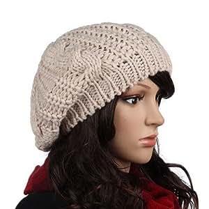 Femmes chaud laine d'hiver Béret tressé Baggy Bonnet Crochet Knitting chapeau Ski Cap Beige