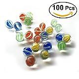 NUOLUX 16MM gatti occhi sparatutto marmi colorati vetro modellato Perline sfere di vetro per i bambini, 100 pz immagine