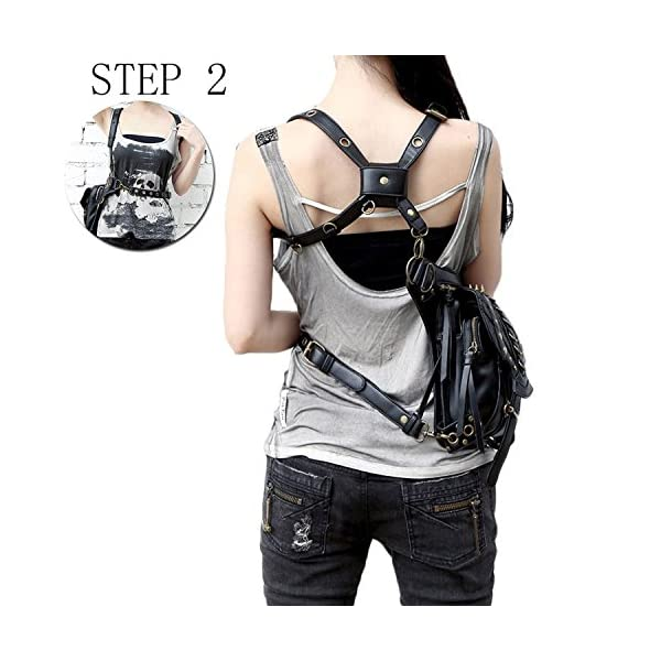 Steampunk Bag Steam Punk Retro Rock Gothic Goth Shoulder Waist Bags Packs Victorian Style for Women Men + Leg Thigh Holster Bag DM201605 100% Brand New and High Quality. Adjustable belt design for better fitting body Material : Leather ( PU Leather) Durable material and workmanship to withstand daily wear & tear. 3
