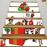 Treppenaufkleber Weihnachten Verkleiden Sich Treppenaufkleber, Um Ihnen Ein Großes Geschenk Zu Schicken Treppen Dekorative Wandaufkleber 18CM*100CM*6 Stück