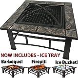 RayGar, tavolo quadrato 3 in 1 da giardino o terrazzo, barbecue, braciere e porta ghiaccio, con piastrelle in ceramica e copertura protettiva (comprende anche un vassoio per il ghiaccio), FP44