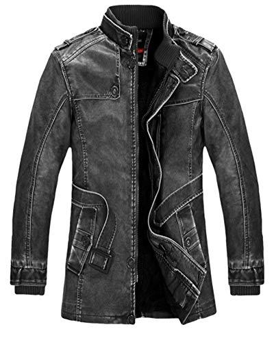 Suncaya Herren Stehkragen PU Lederjacken Vintage Biker Jacke Motorrad Mantel mit Gürtel