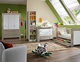 Babyzimmer in Weiß/Eiche-sägerau-Nachb., 4-tlg. Kleiderschrank B: ca. 135 cm, Babybett Liegefläche 70 x 140 cm, Wickelkommode mit Ausatz B:ca. 109 cm