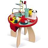 Janod- Table d'activités Baby Forest Grand Jouet d'Éveil pour Encastrer, Empiler, Manipuler-avec Labyrinthe, Boulier, Engrena