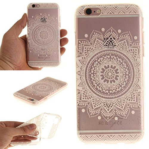 Pour Apple iPhone 6 6S 4.7 inch Coque Case de Protection Ultra Fine Transparente Flexible TPU Créatif Peinture Blanc Mandala color-11