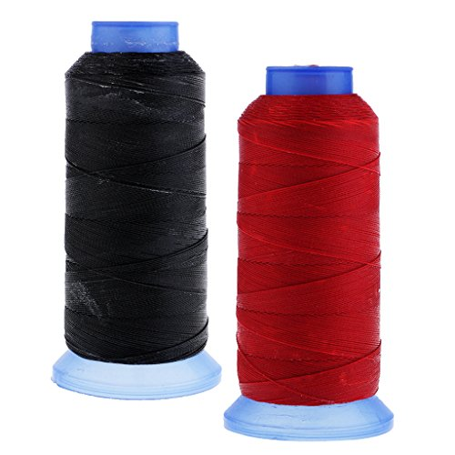 Homyl 2 Bobines Durable Ciré Fil 0.55mm 400M Polyester Cordons À Coudre Couture Artisanat Bracelet En Cuir Noir Rouge