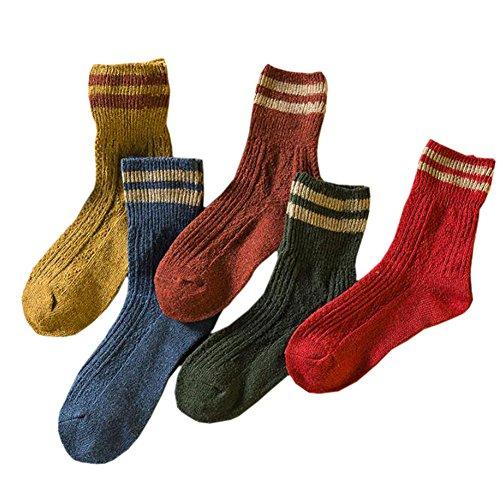 ECHERY Random Mix 5 Paar Damen Mädchen Vintage Streifen Dicker Wolle Stricken Socke Casual Winter Stiefel Socken (Wolle Streifen Stricken)