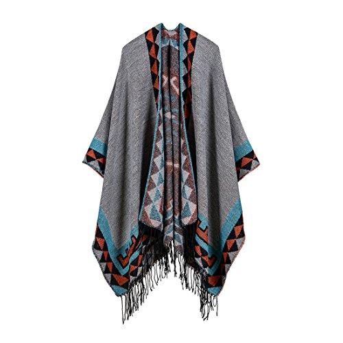 fransen poncho Bestja Damen Winter Herbst Schal mit Fransen Poncho Umhang Cape Outwear Mantel Schal (07-1)