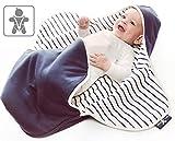 Wallaboo Einschlagdecke Coco, Sehr praktische und Kuschelweiche Babydecke, 100% Baumwolle, 90 x 70 cm, Farbe: blue stripe