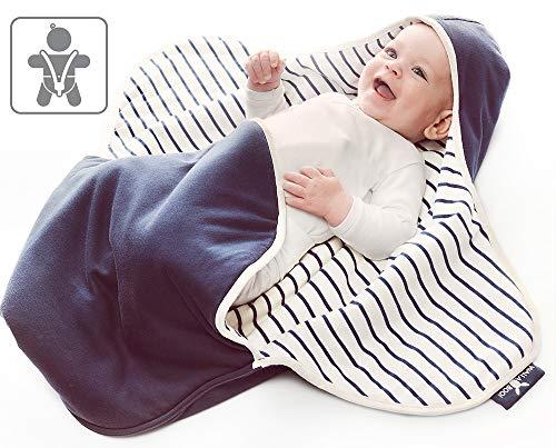 Wallaboo Einschlagdecke Coco, Sehr praktische und Kuschelweiche Babydecke, 100% Baumwolle, 90 x 70 cm, Farbe: blue stripe (Multi-stripe-strumpfhose)