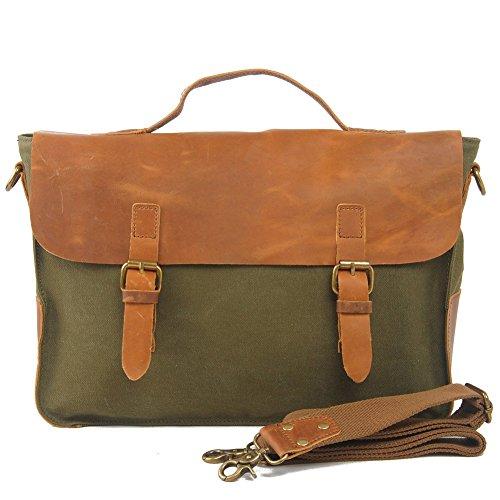 Everdoss Hommes sac à main en toile de style rétro sac de messager sac porté épaule sac de business sac d'ordinateur portable