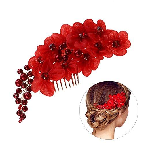 Frcolor Handgemachte Braut Haar Blume Seite Kamm Haarspange Kopfbedeckung mit Tüll Blume Hochzeit Zubehör rot -