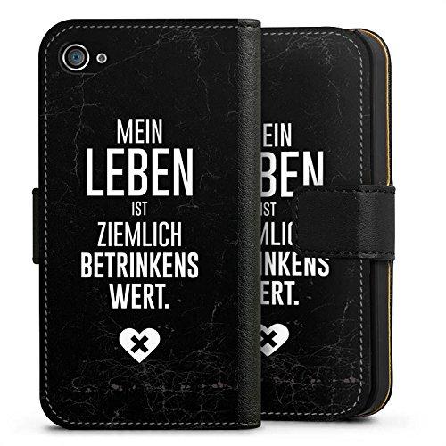 Apple iPhone X Silikon Hülle Case Schutzhülle Party Feiern Sprüche Sideflip Tasche schwarz