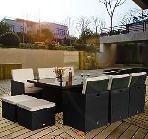 set da giardino arredo outdoor : Outsunny - Set mobili da giardino in poly rattan 27pz set da pranzo ...
