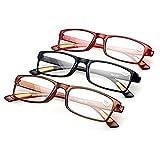 Lesebrillen Schoenleben 3 Stück Damen Herren Augenoptik Brille Lesehilfe Sehhilfe Sehr leicht (3 Farben, 2.0)