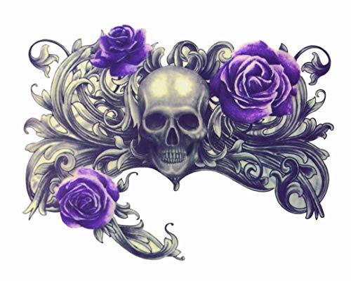 too Kantige Schädel Lila Rose Wasserdichte Blume Arm Körper Kunst Körper Kunst Sexy Realistisch 12 X 19cm ()