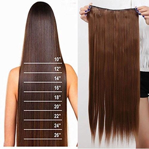 S-noilite 26' (66 cm) extensiones de cabello Una pieza 3/4 cabeza completa recto ombre pedazo de cabello - marrón claro