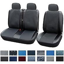 WOLTU AS7323 1+2 Sitzbezug Sitzbezüge Schonbezüge für Transporter/Van, Universal mit Kunstleder, Schwarz/Grau