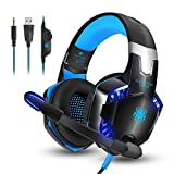 [L'ultima Versione Cuffie Gaming per PS4] KingTop EACH G2000 Cuffie da Gioco con Microfono Stereo Bass LED Luce Regolatore di Volume per PS4 PC Xbox One S Nintendo Switch Cellulari, Blu e Nero