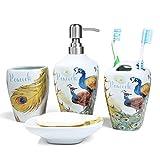 PEHOST Ceramica Bagno Accessori Set 4 Pezzo Pavone Fiore, Uccello Sapone per i Piatti in Ceramica, Dispenser del Sapone, spazzolino Titolare & Tumbler
