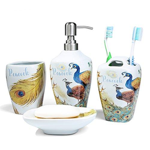 PEHOST Keramik - Toilette zubehör setzt 4 stück pfau Blume und Vogel Keramische Seifenschale,Seifenspender,Zahnputzbecher,Zahnbürstenhalter Pfau Keramik