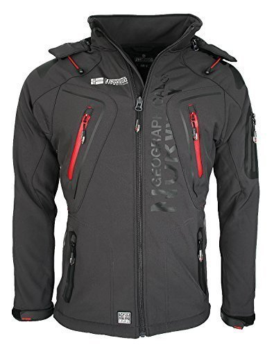 GEOGRAPHICAL NORWAY - giacca softshell giacca funzione resistente all' acqua, Grey - Dark grey, Small