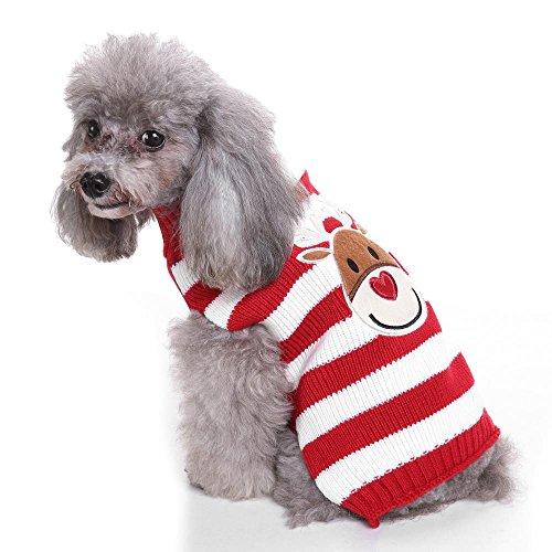 Welpenhund-Karikatur-Ren-Strickpullover für Weihnachtstags-Haustier-Winter-Streifen-Strickwaren-warmer Mantel-T-Shirt Kleider LNAG , l (Ren Fest Kostüm)