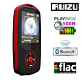 Gadget Hero's RUIZU X06 Bluetooth Ultra Portable High Res. Multimedia Player, Supports FLAC APE FLAC APE MP3 WAV WMA. Built In 4 GB. 64Gb Micro SD Card Supported. Excellent Lossless Sound Reproduction. AV Player Voice Recorder FM Player Ebook Reader Calendar Alarm Clock. Red