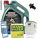 Ölwechsel Set Inspektion 5L Castrol Magnatec Stop-Start A5 Motoröl + MANN Ölfilter + Öl Ablassschraube Verschlussschraube