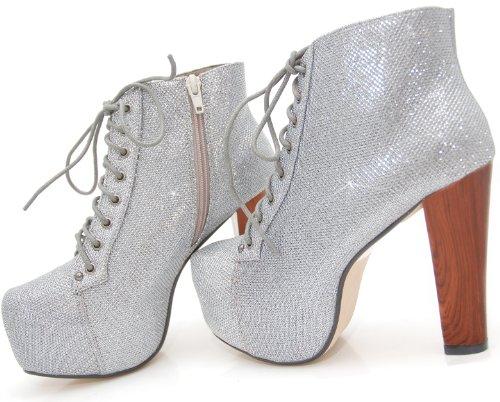 Kayla Shoes© Plateau Glitzer Boots Holzabsatz Optik Schwarz