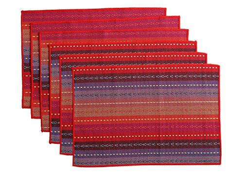 Wood meets color, set di 6tovagliette tessute a mano in 100% cotone, tovagliette antiscivolo in tessuto intrecciato a coste, lavabile, 30,5x 45,7cm red