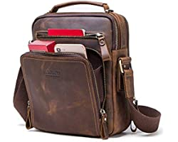CONTACTS Genuine Leather Messenger Sling Stylish Latest iPad Tablet Camera Travel Crossbody Bag