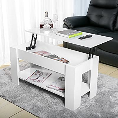 Leisure Zone ® Lift up Top Coffee Table with storage and shelf living room - inexpensive UK light shop.