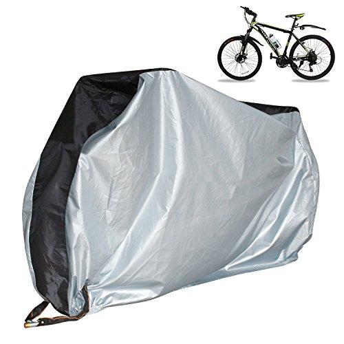 KJZEEX Fahrradabdeckung und Sicherheitskette Schloss für Mountain- und Road Bikes, Outdoor sorgfältiger Schutz vor Regen, Sonne, UV, Staub für Elektrofahrrad, Bike Cover Schwarz & Silber, XL - Roller-schnee-kette