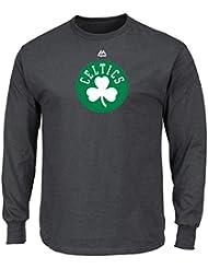 """Boston Celtics Majestic NBA """"Supreme Logo"""" Men's Long Sleeve T-Shirt Chemise - Charcoal"""