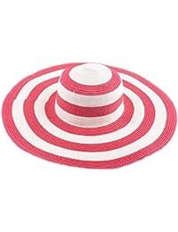Chapeaux Fedora et Trilby - BienBien Femme Chapeau de Paille Rayé Pliable Capeline Tresse Été Soleil Large Bord Plage Voyage